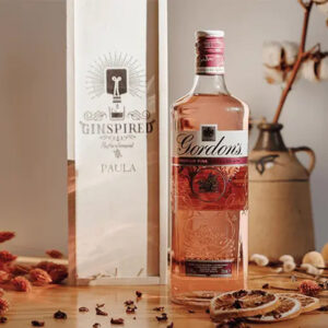 Gordon's Pink Gin with Personalised Wooden Gift Box - 70cl 37.5% ABV