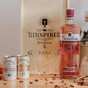 Gordon's Pink Gin with Personalised Wooden Gift Box and Tonics - 700ml