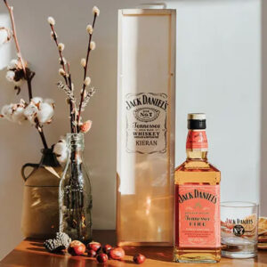 Jack Daniels Tennessee Fire Personalised Gift Box with Branded Glass