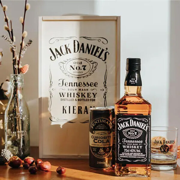 Personalised Christmas Jack Daniels Whisky Gift Box with JD Glass