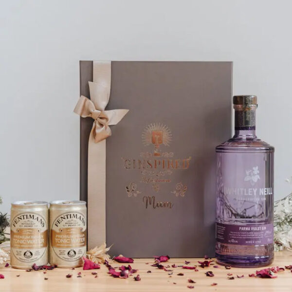 Whitley Neill Parma Violet Gin Personalised Gift Box with Tonics